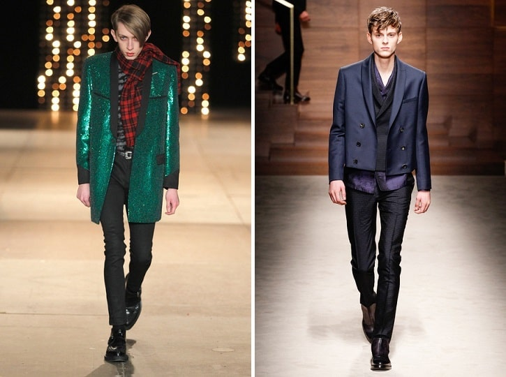 Spotting Autumn Trends Shiny Suit - saint laurent - salvatore ferragamo