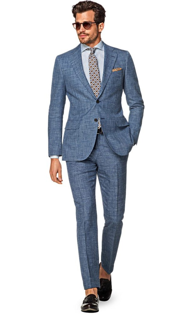 cocktail attire blue suit